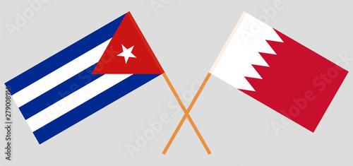 Bahrain and Cuba. Crossed Bahraini and Cuban flags Wallpaper Mural