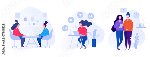 Collection of illustrations with people working in the office, making a presentation, negotiating and discussing business issues, developing ideas - 279011528