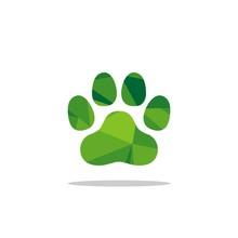 Green Polygonal Paw Print Logo Template Illustration Design. Vector EPS 10.
