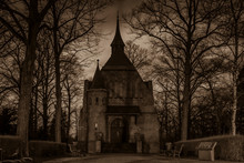 Cemetery Chapel At Night, Chapel, Trees, Sepia Photo, Black And White, Spooky Chapel On A Cemetry At Night