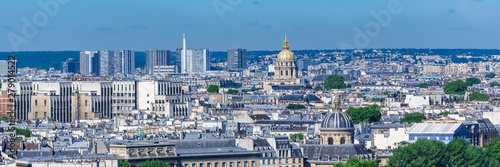 Paris, typical roofs, aerial view with the Invalides dome and the Sainte-Chapell Canvas Print
