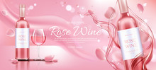 Rose Wine Bottle And Glass Mockup Banner. Closed Flask And Wineglass With Alcohol Vine Drink On Pink Background With Flower Petals And Liquid Splash, Ad Promo Template Realistic 3d Vector Illustration