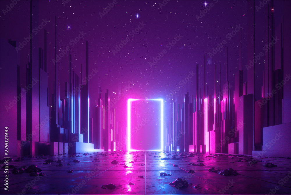 Fototapety, obrazy: 3d abstract neon background, cyber space virtual reality, ultraviolet glowing frame, portal at the end of the street of fantastic city, minimal skyscrapers, post apocalyptic urban concept, night sky