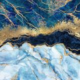 abstrakcyjne tło, niebieski marmur, sztuczna tekstura kamienia, płynna farba, folia złota i brokat, malowane sztuczne marmurkowe powierzchnie, ilustracja marmurkowa moda - 279022531