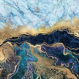 abstrakcyjne tło, niebieski marmur, sztuczna tekstura kamienia, płynna farba, folia złota i brokat, malowane sztuczne marmurkowe powierzchnie, ilustracja marmurkowa moda - 279022908