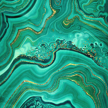 Abstract Background, Fake Stone Texture, Malachite Green Agate Jasper Marble Slab With Gold Glitter Veins, Wavy Lines Fashion Print, Painted Artificial Marbled Surface, Artistic Marbling Illustration