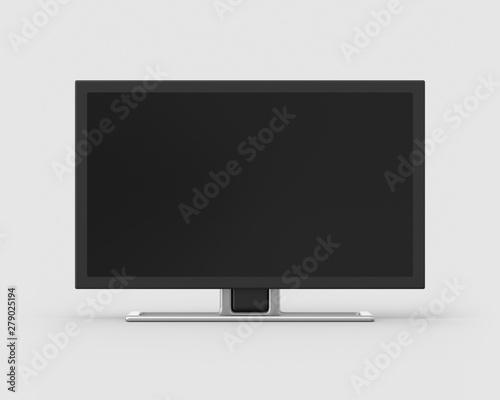 24 inch widescreen television on a light grey background. 3d render. Front view. Isolated Objects Series.