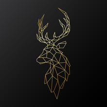 Golden Polygonal Deer Illustra...