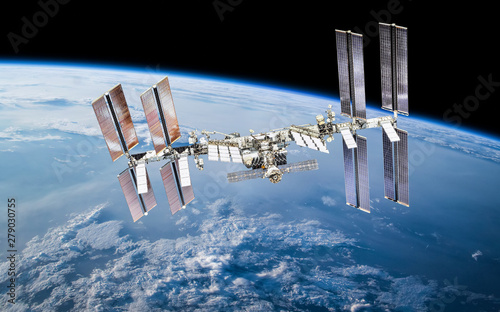 ISS station on orbit of the Earth planet. Elements of this image furnished by NASA - 279030755