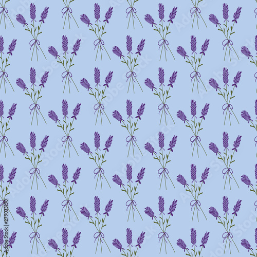 Vászonkép Lavender bouquet on a blue background seamless pattern.