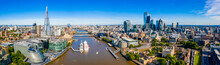 Aerial Panoramic Cityscape View Of London And The River Thames, England, United Kingdom. Close Up View Of The City Of London District.