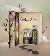 Fairy tale book with an open door to wonderland