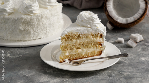 Fototapeta Latin american food, coconut cake, torta or pastel de coco, Columbian typical cake obraz