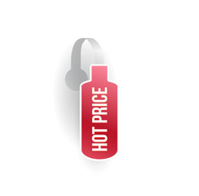 Vector Red Bottle Shape Wobbler Mockup With Transparent Strip Isolated On White Background. Sale Message Template For Your Hanging Shelf Tag Design.