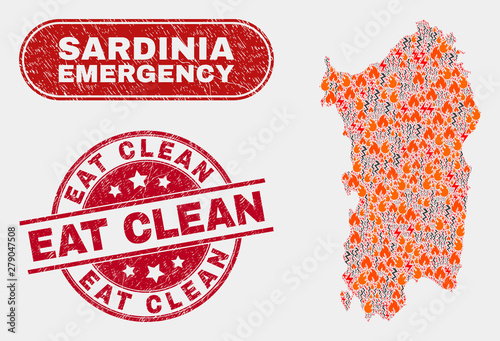 Photo  Vector composition of disaster Sardinia map and red round scratched Eat Clean seal stamp
