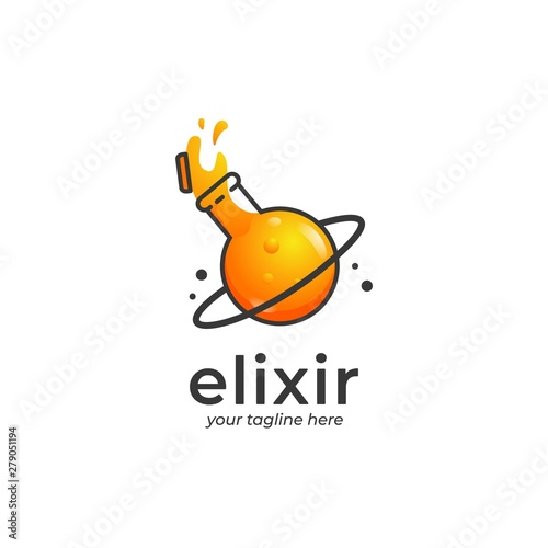 Fototapeta Spilled elixir logo, spilled orange potion logo with planet shape glass container with ring in cartoon style illustration obraz