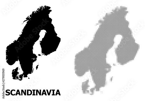 Obraz Vector Halftone Pattern and Solid Map of Scandinavia - fototapety do salonu