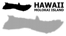 Vector Halftone Mosaic And Solid Map Of Molokai Island