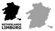 Vector Halftone Pattern and Solid Map of Limburg Province