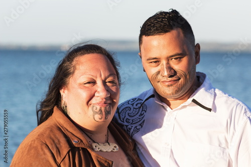 Photographie  Portrait of an attractive Maori couple taken outdoors