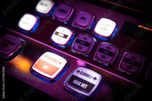 Obraz na plátně  Casino. Gaming machine buttons. Inscriptions in English.