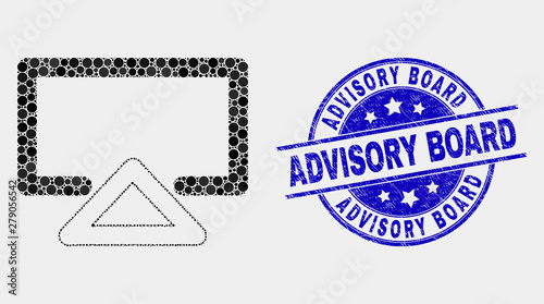 Photo Pixelated display mosaic icon and Advisory Board seal stamp