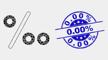 Dot Per Mille Mosaic Icon And 0.00% Seal Stamp. Blue Vector Rounded Scratched Seal Stamp With 0.00% Text. Vector Collage In Flat Style. Black Isolated Per Mille Mosaic Of Scattered Circles, And 0.