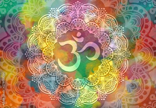 Valokuvatapetti Abstract mandala graphic design and diwali om hinduism symbol with watercolor di