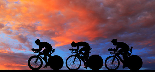 Silhouette  Cycling  on blu...