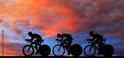 Silhouette  Cycling  on blu...