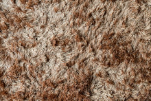 Brown Fabric Carpet With Long Pile Texture