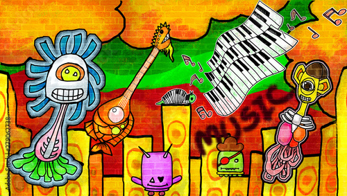 Poster de jardin Graffiti Smiling monsters enjoying the music the colorful paint Wall