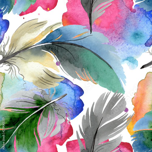 colorful-bird-feather-from-wing-isolated-watercolor-background-illustration-set-seamless-background-pattern