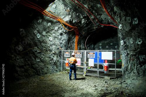 Electrician in Underground Mine Tunnel Fototapeta