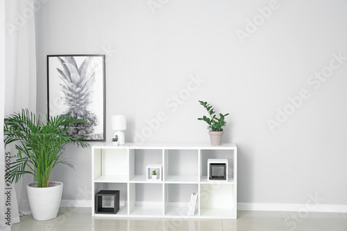Light wall in modern interior of room