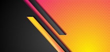 Black And Pink Yellow Abstract Tech Geometric Background With Glossy Stripes. Vector Corporate Design
