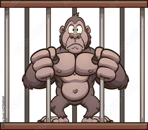 Photo Worried cartoon gorilla trapped in a cage