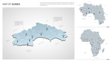 Vector Set Of Guinea Country.  Isometric 3d Map, Guinea Map, Africa Map - With Region, State Names And City Names.