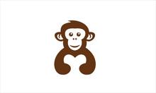 Monkey Hug Love Logo Icon Silh...