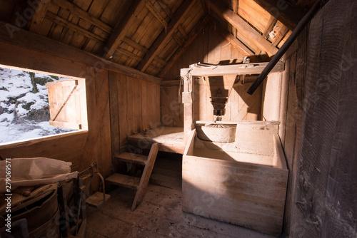 interior of retro wooden watermill Fototapeta