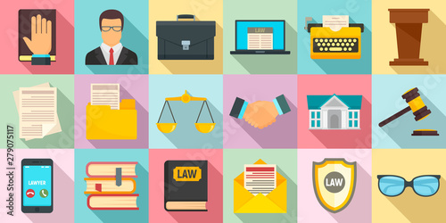 Lawyer icons set. Flat set of lawyer vector icons for web design Canvas Print