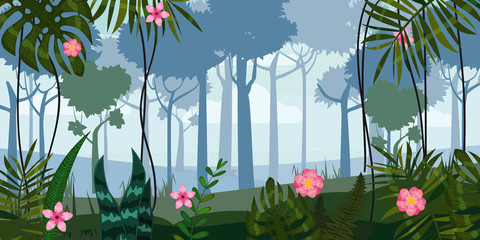 Vector blue landscape with silhouettes of trees in forest