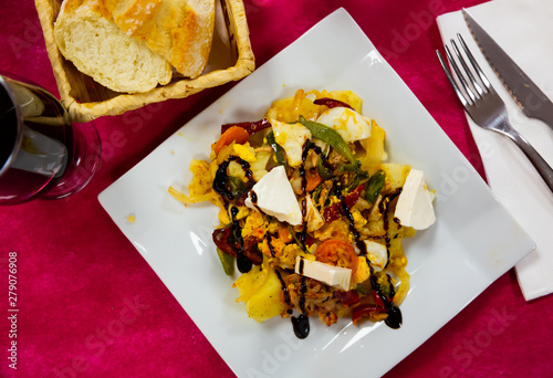 Image of fresh salad potatoes, fresh cheese and vegetables