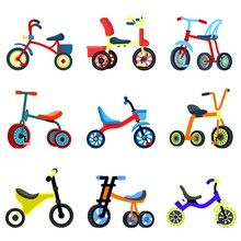 Tricycle Icons Set. Flat Set O...