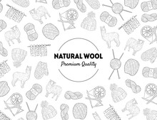 Natural Wool Banner Template With Knitting Hand Drawn Symbols Pattern, Design Element Can Be Used For Brochure, Booklet, Card Vector Illustration