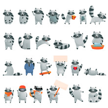 Raccoon Icons Set. Cartoon Set...