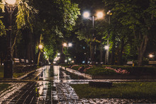 A Night In The Park. Street Lights Lit The Wet Footpath. The Night Park Is Lighting Dimly