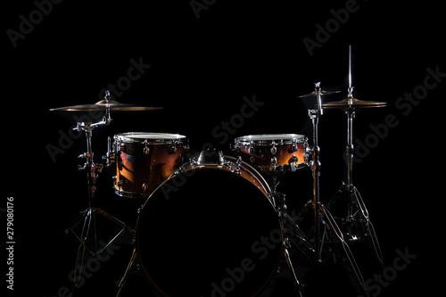 Photo Drum Set On A Stage At Dark Background