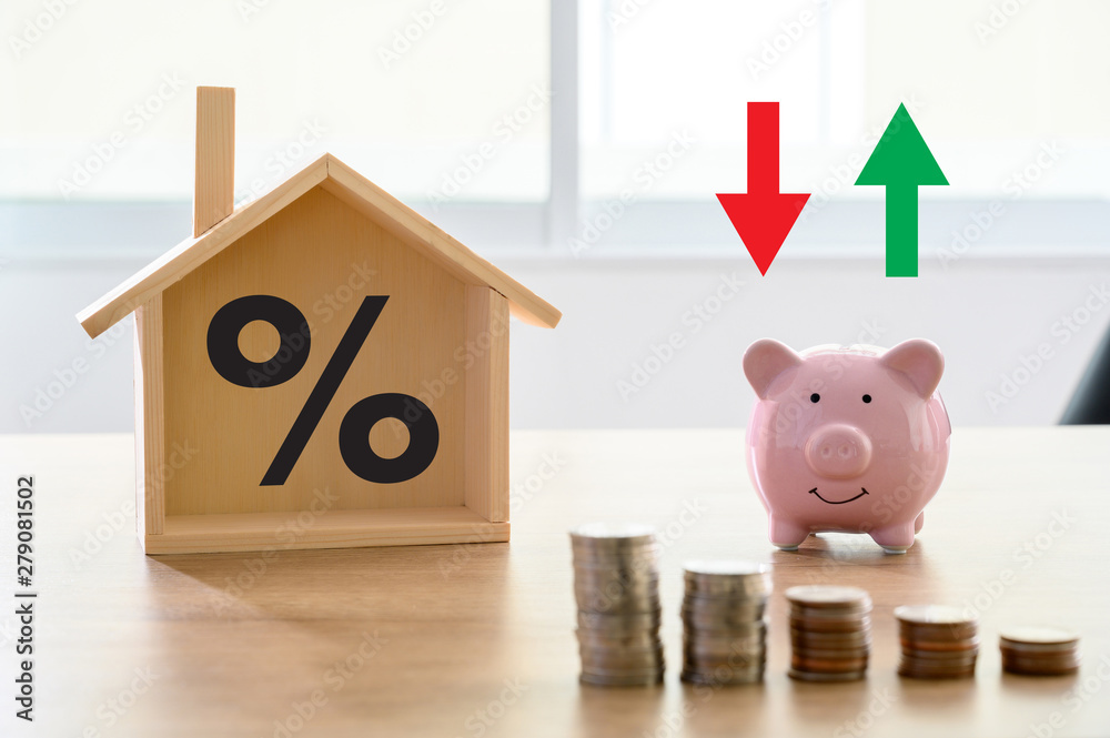 Fototapeta Mortgage rates business concept of investment housing  real estate interest rates