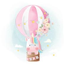 Rainbow Unicorn Flying With Balloon